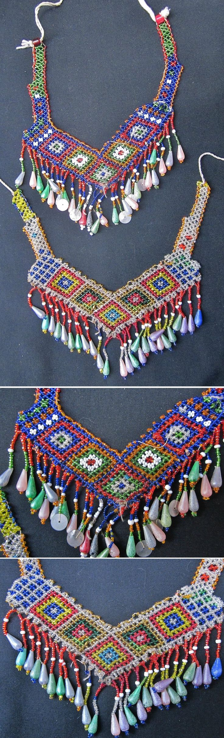 Two 'gerdanlık' (necklace, to be worn close to the neck). Part of the traditional festive woman's costume from Nebiköy (15 km NE of Tokat city). Beadwork, mid-20th century, bought from the village in 1989. (Kavak Folklor Ekibi & Costume Collection-Antwerpen/Belgium).