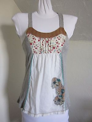 URBAN OUTFITTERS MYNK Womens BOHO Tank Top Gray White Flower Patch