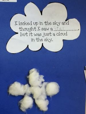 "From reading the book ""It looked like spilt milk"". Cute activity, I am reading this next week and plan on using it!"