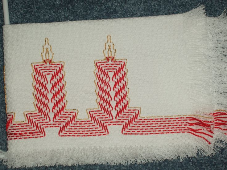 Huck Embroidered Candles for Christmas Table by TakesaNeedle