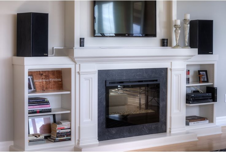 Built-in fireplace and entertainment unit.