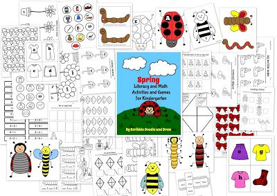 Printable spring literacy and math worksheets and activities for kindergarten