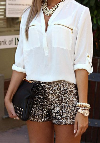 Highland White Blouse & Sequined Shorts