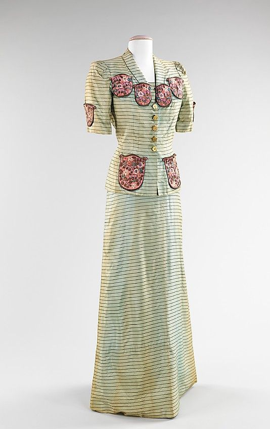 Ensemble, Evening.  Elsa Schiaparelli (Italian, 1890–1973).  Date: summer 1940. Culture: French. Medium: silk, metal, wool. Dimensions: Length at CB (a): 26 1/2 in. (67.3 cm). Length at CB (b): 60 in. (152.4 cm).