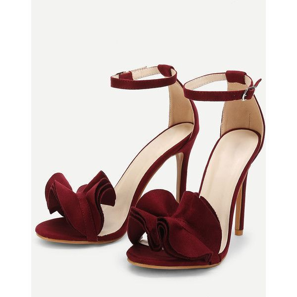 SheIn(sheinside) Layered Ruffle Design Stiletto Heels ($35) ❤ liked on Polyvore featuring shoes, pumps, ankle strap stilettos, high heel stilettos, red stilettos, high heel shoes and red shoes #redanklestrapsheels