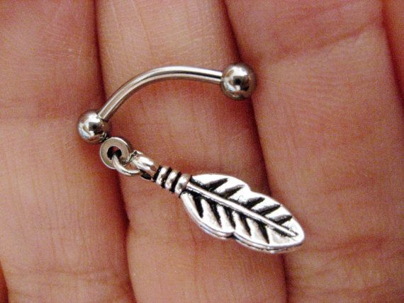Tiny Feather Leaf Eyebrow Rook Earring Ear Eye by Azeetadesigns, $12.50