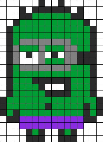 Hulk Minion  perler bead pattern change to cross stitch
