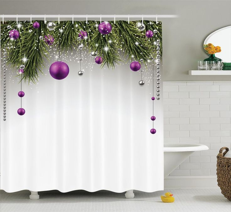 Christmas Tree Decorations Tinsel Balls Gift Wrap Picture Shower Curtain Set #Ambesonne