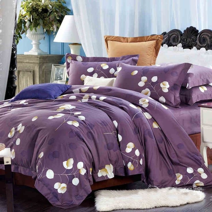 Deep Purple and White Noble Unusual Floral Print Full, Queen Size 100% Cotton Bedding Sets