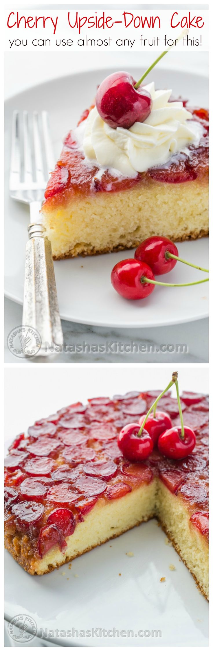 Cherry Upside-Down Cake! Yum! would be so soft, moist, and Delicious!!And you can use just about any kind of fruit! | NatashasKitchen.com