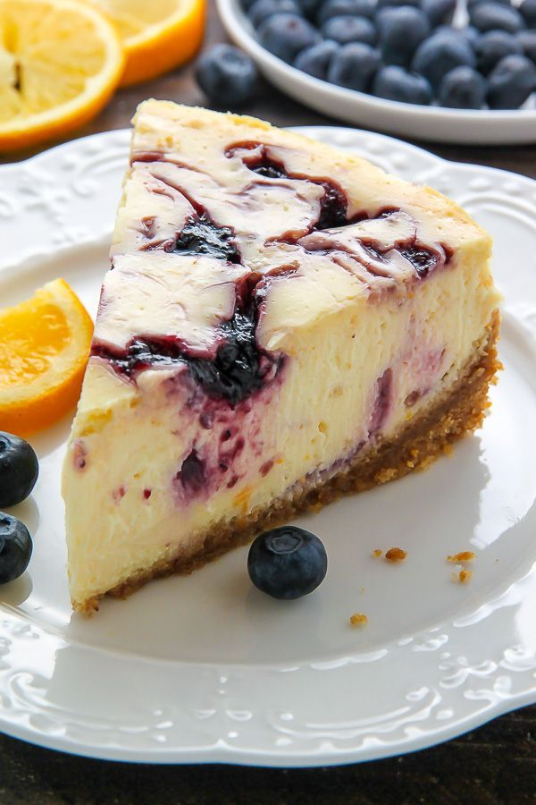 Super creamy homemade Lemon Blueberry Swirl Cheesecake! Step by step photos make it easy.