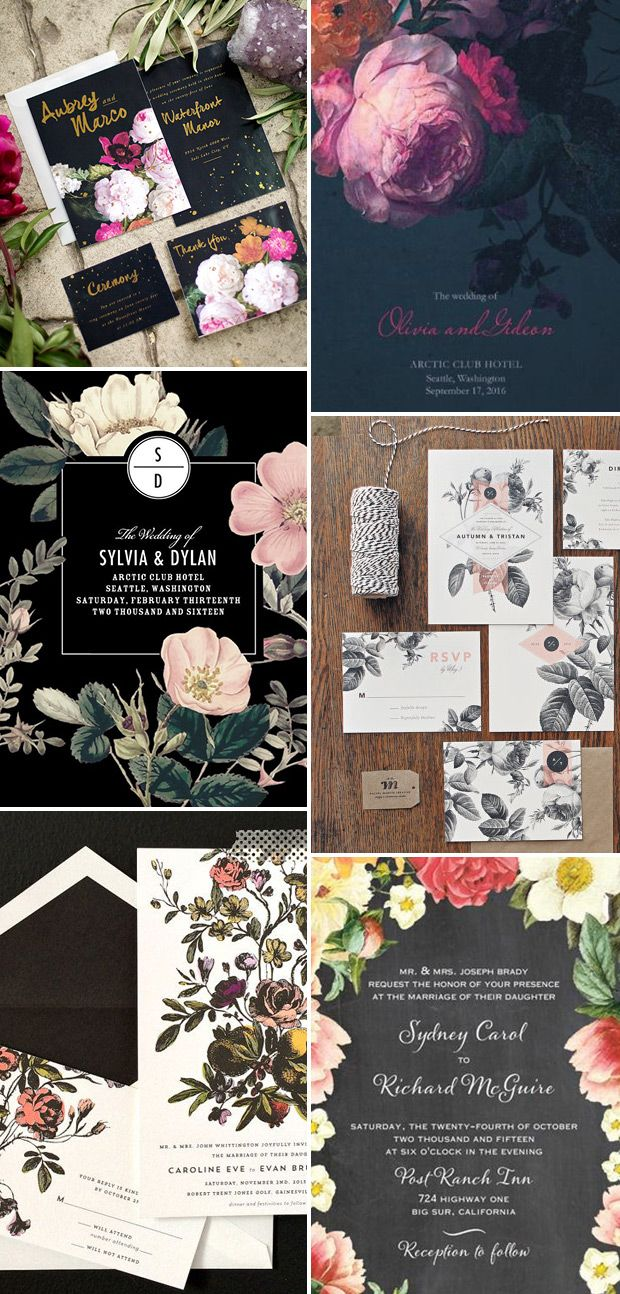 Dramatic Black Floral Wedding Stationery | www.onefabday.com