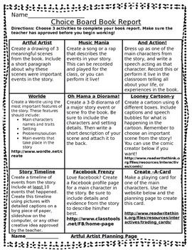 This choice board provides a variety of ways for students to show knowledge about a book they have read in a less traditional fashion. It includes activities involving multiple intelligence's as well as technology features. Students love these activities and it no longer is boring to complete a book report!