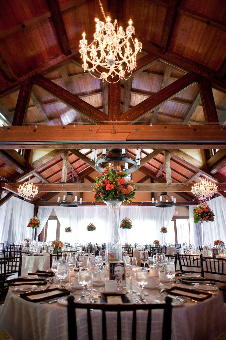 A beautiful rustic reception by Lynn Fletcher Weddings at Silvertip Golf Course in Canmore Alberta.