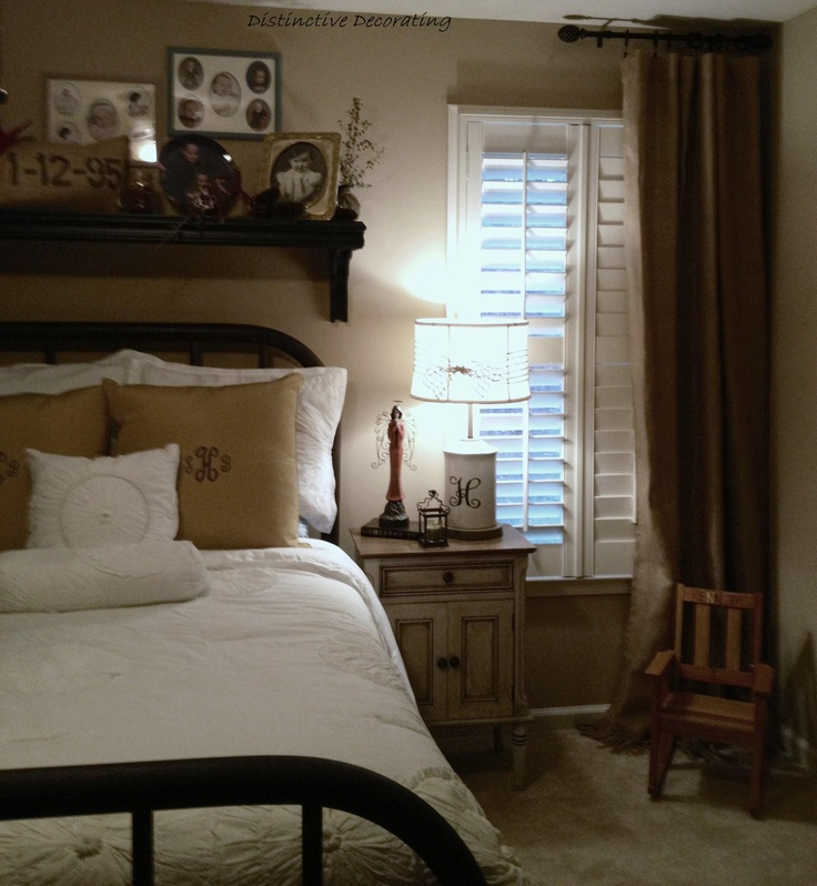 Vintage Iron Bed, Burlap Curtains - Memories