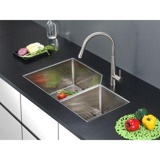 Ruvati 16 Gauge Stainless Steel 33 Inch Double Bowl Undermount Kitchen Sink  By Ruvati