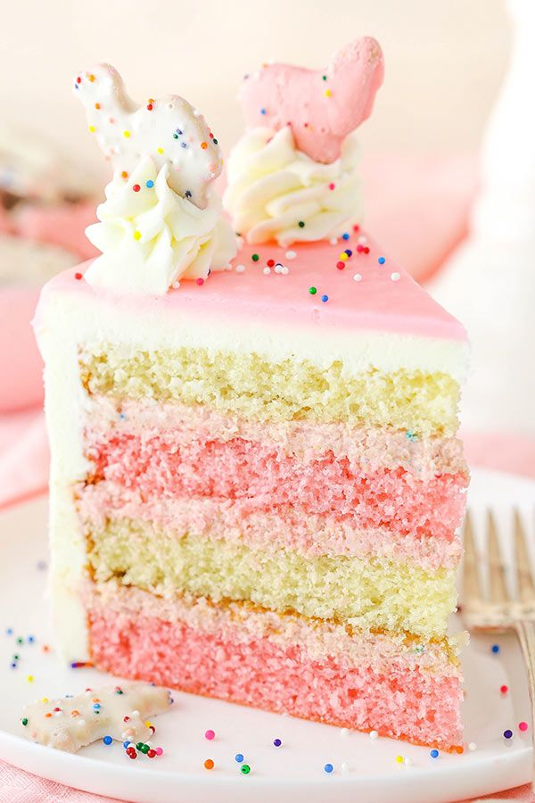 pink and white layers of vanilla cake, filled with a crushed up frosted animal c…   – Best Cake Recipes!