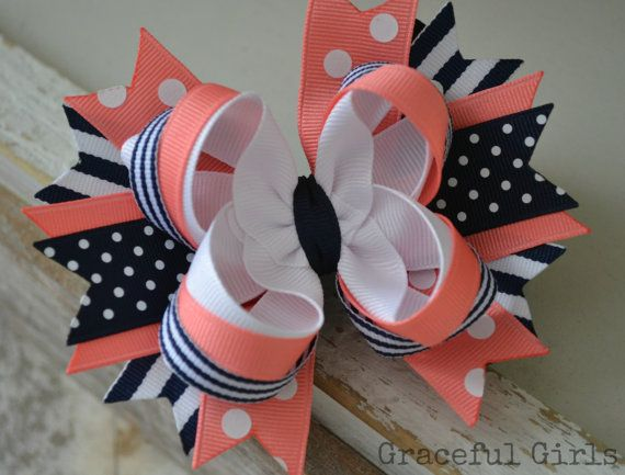 Navy and Coral    Navy, Coral & White Stacked Hair Bow by GracefulGirls on Etsy