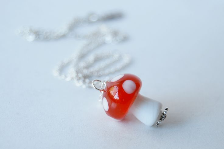 Large Red Glass Mushroom Necklace