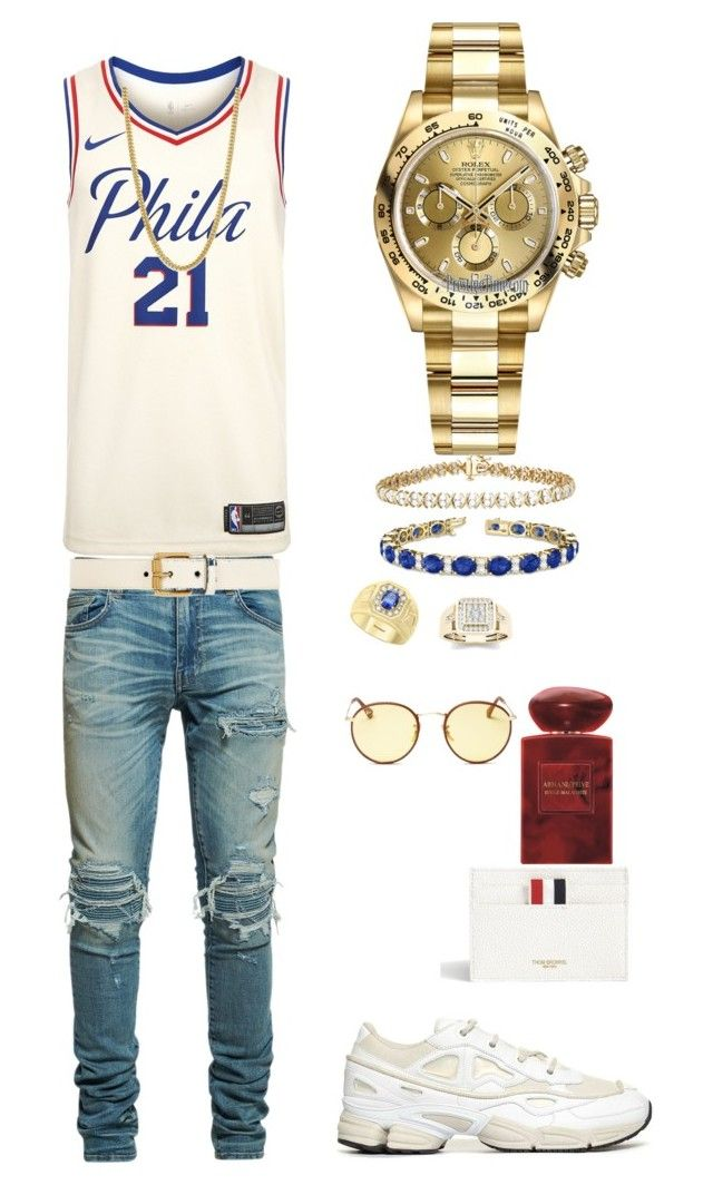 fc0d6afde Untitled #92 by tikitress on Polyvore featuring AMIRI, NIKE, Rolex,  Ray-Ban, Thom Browne, Bloomingdale's, Effy Jewelry, Giorgio Armani, Allurez  and Gucci