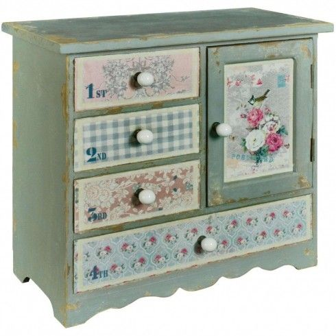 Grey Washed Floral Drawer Chest