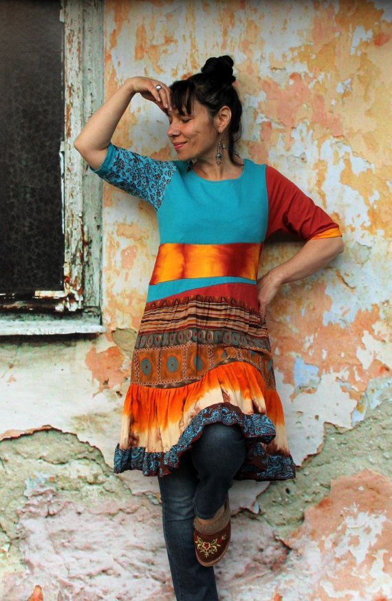 Summer colors shiny recycled dress tunic. Made from recycled clothing. Remade, reused and upcycled. Full of good strong energy, keeps you smiled.