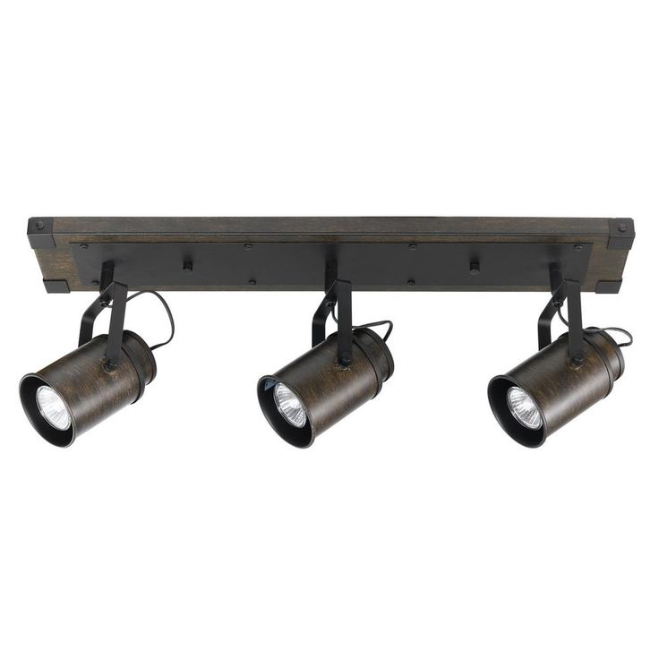 Globe Electric Williamsburg 2 ft. 3-Light Dark Wood Track Lighting Kit