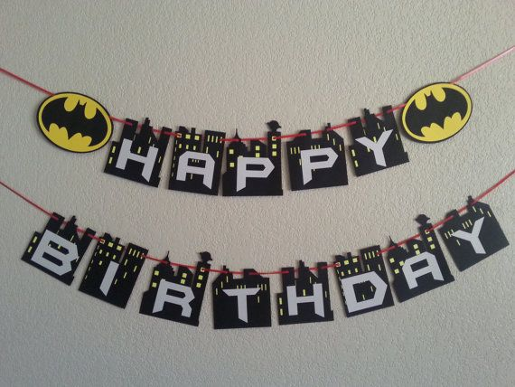 Batman Happy Birthday Banner. Can be personalized by bebepeekaboo
