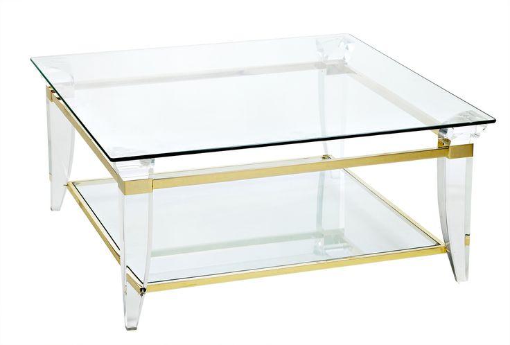 Table Basse Carr E 2 Plateaux De Verre Structure En Altuglas Et Laiton Dor Ou