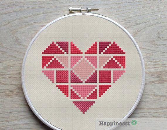 geometric modern cross stitch pattern heart, valentine heart, tangram style, PDF pattern ** instant download**