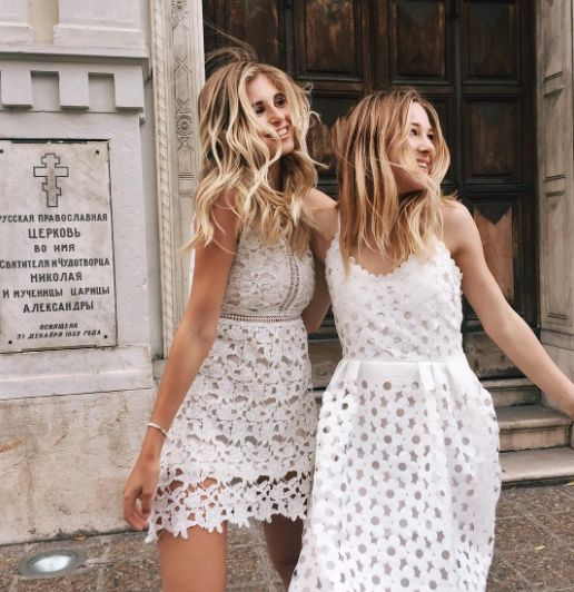 Street style, casual outfit, spring chic, summer chic, white lace dress, blonde hair