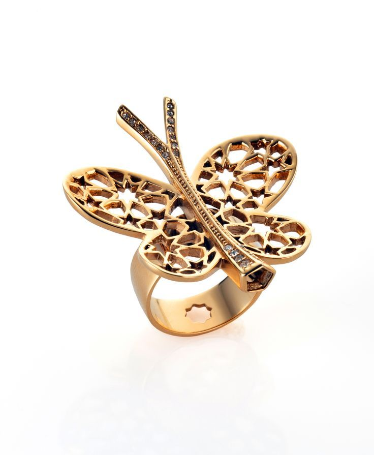 Marine grade 316 Stainless steel plated with 18k Gold and Titanium with Crystals setting - Butterfly Ring