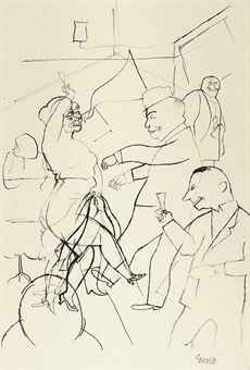 George Grosz. Tanzbar, Berlin, 1920. Pen and India ink on paper.