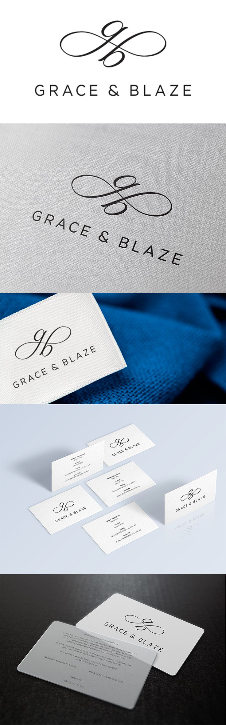 Grace & Blaze is one of Sydney's newest fashion labels. Made Agency created an elegant and unique brand identity that reflects the femininity and glamour of the brand. graphic graphicdesign logo inspiration madeagency sydney fashion couture identity bran http://jrstudioweb.com/diseno-grafico/diseno-de-logotipos/