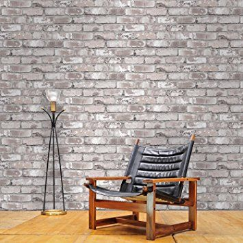 'Irwell' Photo Realistic Limited Edition Brick Effect Wallpaper in Grey (Full Roll): Amazon.co.uk: Kitchen & Home