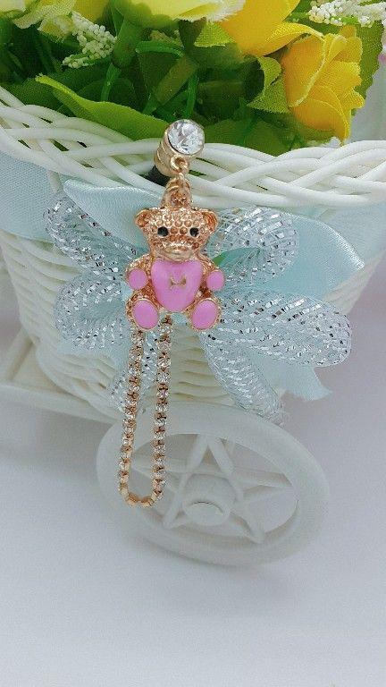 Kode : AWS-180, Nama : Pink Teddy Bear Jewelry Pluggy, Price : IDR 55
