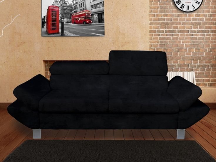 Canapé 3 places ROMAIN en microfibre pas cher coloris Noir prix promo Canapé Vente Unique 399.99 €
