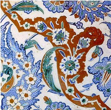 Turkish tile from a decorative panel.