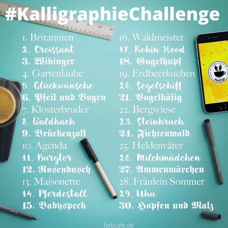 Aufgepasst! Anlässlich des neuen Monats (schon wieder!) und des neuen BrushPen-Kalligraphie-Übungsbuches (was ein Wort) gibt es wieder eine neue #KalligraphieChallenge :) . Wie das Mitmachen funktioniert, wisst ihr ja, oder? ✖️Teilt dieses Bild auf euren Kanälen und lettert und kalligraphiert, was das Zeug hält! ✖️Da wir dieses Jahr schon drei Schriften gelernt haben (Antiqua, Gotisch Textur und BrushPen) habe ich die Challenge aufgeteilt, damit jede Schrift gleichmäßig oft dran kommt…