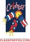Firecrackers Celebrate Applique House Flag