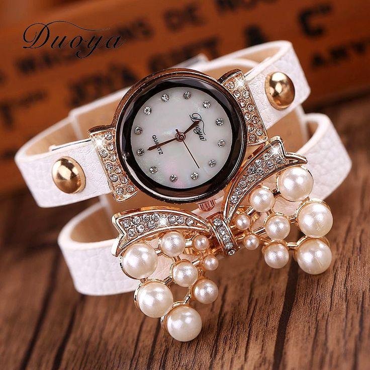 Goedkope Duoya Merk Horloges Vrouwen Luxe Boog Parel Armband Polshorloge Vrouwen Mode Lederen Elektronica Horloge XR536, koop Kwaliteit vrouwen horloges rechtstreeks van Leveranciers van China: