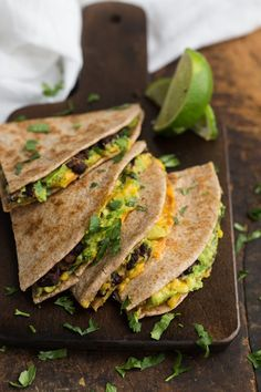 Chipotle Black Bean and Avocado Quesadilla (use vegan cheese)