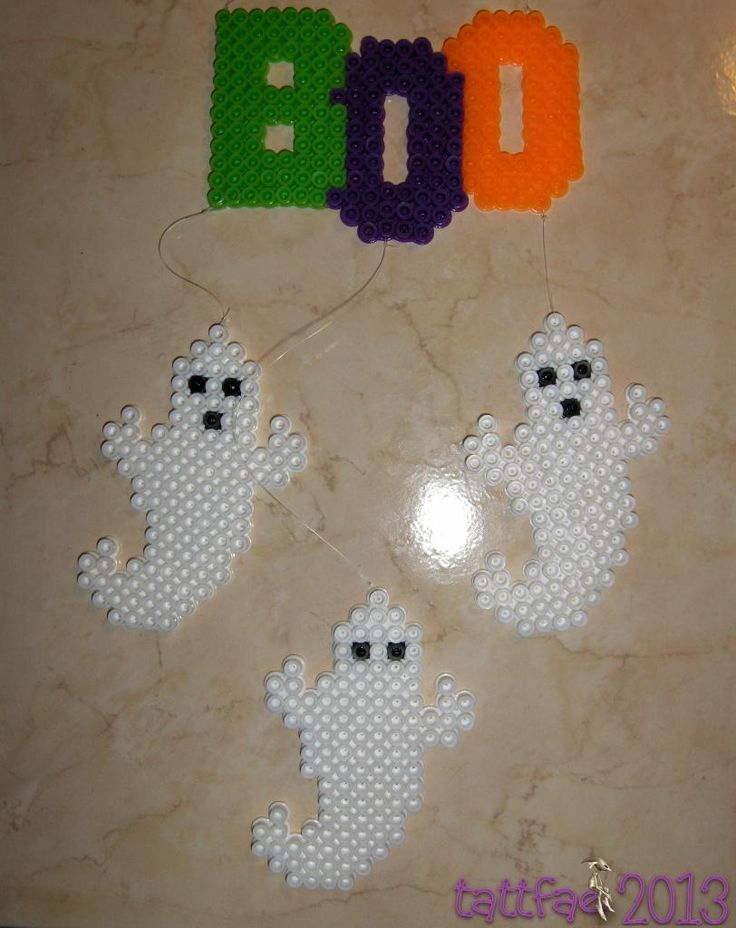 Ghostly perler bead mobile for Halloween