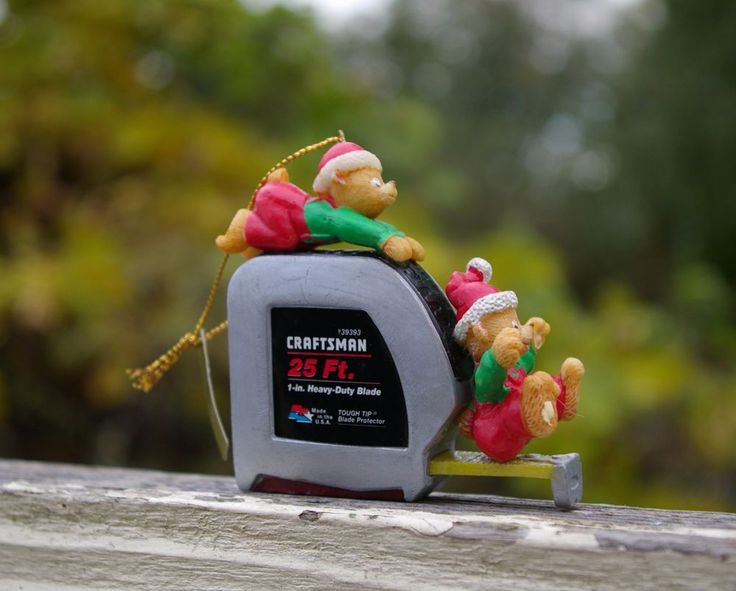 1996 Craftsman Tape Measure Mr. Christmas Holiday Ornament Teddy Bears  | eBay