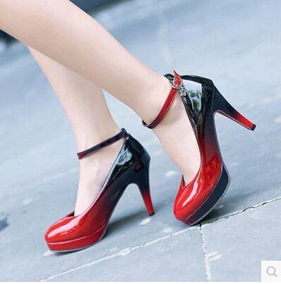 Primavera e no outono cor gradiente de alta-sapatos de salto alto com um senso de pequeno das mulheres solteiros conjuntos fita à prova d' água de profissionais de po