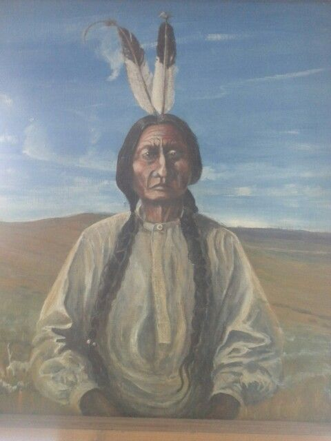 roger adams painting of sitting bull painted after visiting the little big horn montana usa. Black Bedroom Furniture Sets. Home Design Ideas