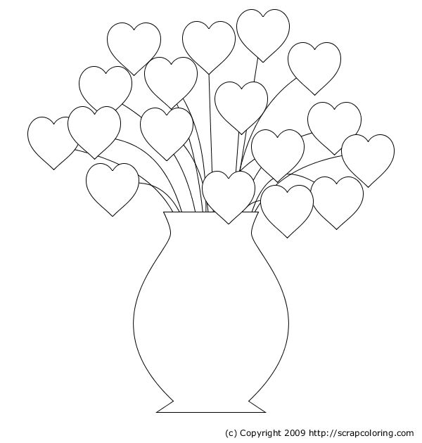 Hearts and Roses Coloring Pages | Hearts Bouquet coloring page
