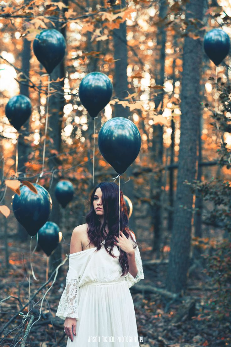 """The Hollows Series / Go Away With Me""  Model: Shannon Marie www.jasonmcneilphotography.com  #balloons #balloon #black #white #colorful #Shannon #Marie #forest #nature #photography #photoshoot #canon #love #cold #mask"