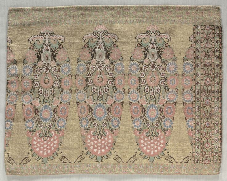 18 c. Iran. 2nd Piece from a Scarf. brocade, Overall - h:38.50 w:50.50 cm (h:15 1/8 w:19 7/8 inches). Gift of Mr. and Mrs. J. H. Wade 1916.1429   Cleveland Museum of Art
