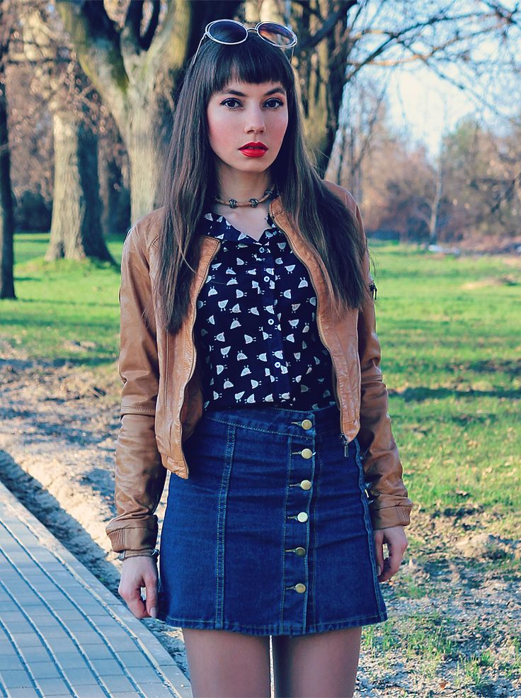 seventies fashion vibes, button front denim skirt, chicken shirt, camel bomber jacket: https://jointyicroissanty.blogspot.com/2017/04/camel-bomber-jacket-and-chicken-shirt.html